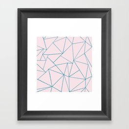 Ab Dotted Lines Blue on Pink Framed Art Print