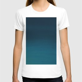 Navy blue teal hand painted watercolor paint ombre T-shirt