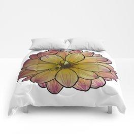 Yellow & Pink Dahlia Comforters