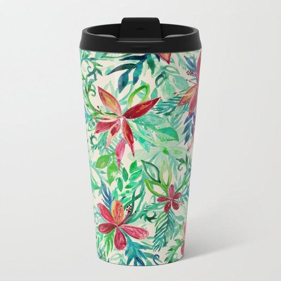 Vintage Tropical Floral - a watercolor pattern Metal Travel Mug