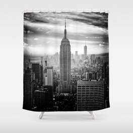 New york city black white 2 Shower Curtain