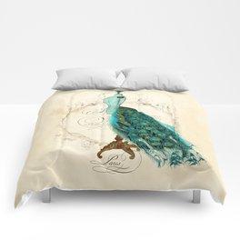 Peacock bustle mannequin Comforters