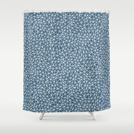 Off White Abstract Triangle Shape Pattern on Blue Pairs To 2020 Color of the Year Chinese Porcelain Shower Curtain