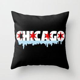 Chicago Flag Skyline Throw Pillow