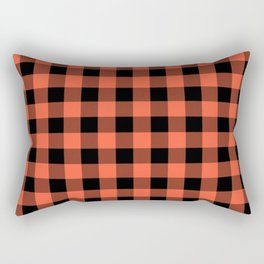 Jumbo Living Coral Color of the Year Orange and Black Buffalo Check Plaid Rectangular Pillow