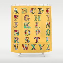 Floral Alphabet in Yellow Shower Curtain