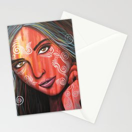 Abstract art portrait face woman girl painting ... Memories Stationery Cards