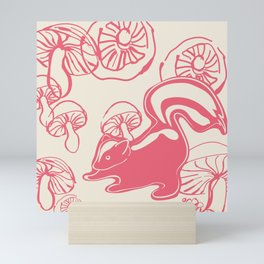 skunk with mushrooms Mini Art Print