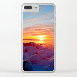 Sunset and Wind turbines Clear iPhone Case