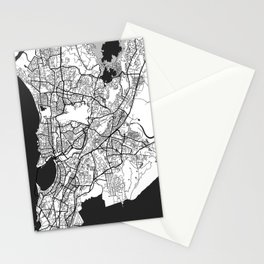 Mumbai Map Gray Stationery Cards
