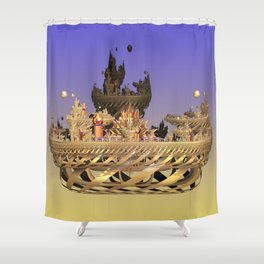 Golden Fractal Fantasy Castle Shower Curtain