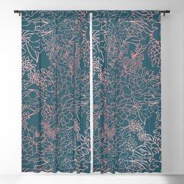 Luxury floral coral strokes doodles design Blackout Curtain