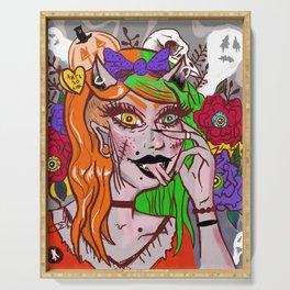 Pure Evil Punk Rock Girl Horror Halloween Art Serving Tray