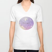 relax V-neck T-shirts featuring Relax by Rachel Burbee