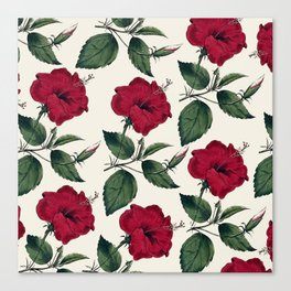 Botanical vintage dark red green ivory floral Canvas Print