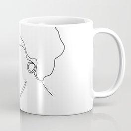 Minimalistic female black and white line drawing of Coco Coffee Mug