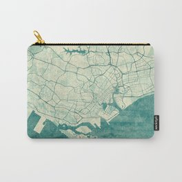 Singapore Map Blue Vintage Carry-All Pouch