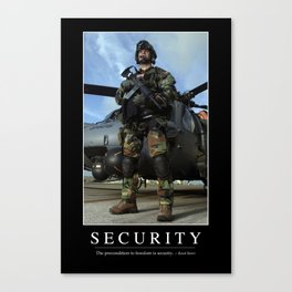 Security: Inspirational Quote and Motivational Poster Canvas Print