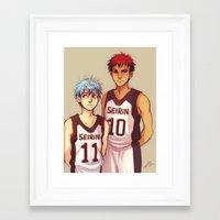 kuroko Framed Art Prints featuring Kagami & Kuroko by AndytheLemon