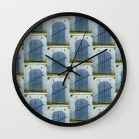 doors Wall Clocks featuring Closed Doors by Phil Perkins