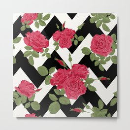 Red roses on a black zigzag Metal Print