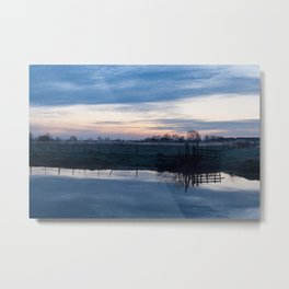 Sunset over a spring river Biebrza in Poland Metal Print