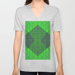 Light-green-pattern Unisex V-Neck