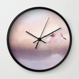 Roseate Spoonbill (Platalea ajaja) in Flight over lake Wall Clock