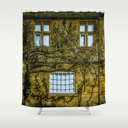 Windows on a Cotswold Square House with Vine and Shadow England Shower Curtain