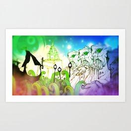 God Gamble Monster World Art Print