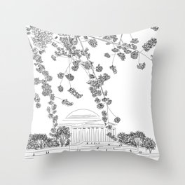 Cherry Blossoms at the Jefferson Memorial Throw Pillow
