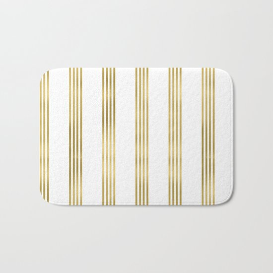Gold small stripes on clear white - vertical pattern Bath Mat