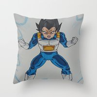 vegeta Throw Pillows featuring Prince Vegeta by bmeow