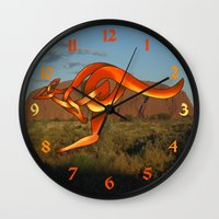 kangaroo Wall Clocks featuring Kangaroo by Knot Your World