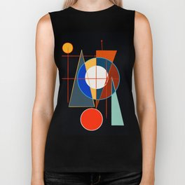 Black Geometric Abstract Composition Suprematist Biker Tank