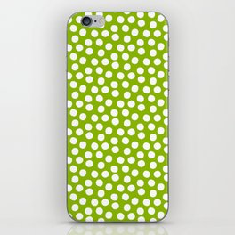 White Polka Dots on Fresh Spring Green - Mix & Match with Simplicty of life iPhone Skin