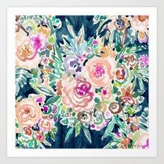 SO RICH Dark Boho Floral Art Print