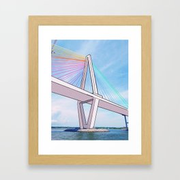 Rainbow Ravenel Bridge Framed Art Print