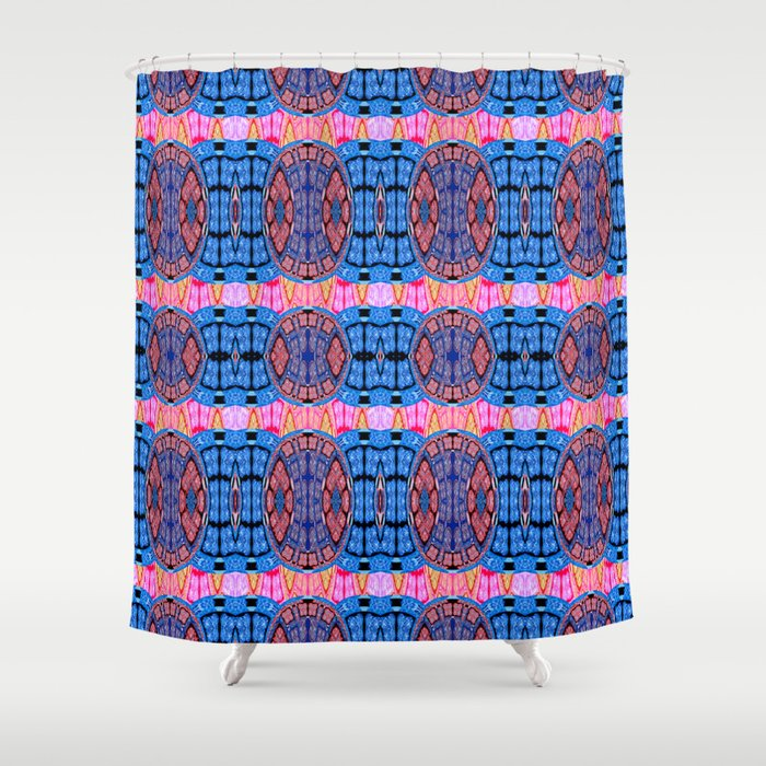 Vintage Modern African Fabric Print Cool Tones Shower Curtain
