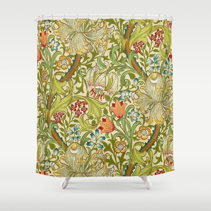 William Morris Golden Lily Vintage Pre-Raphaelite Floral Shower Curtain