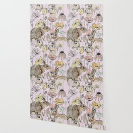 rabbits and flowers with color Wallpaper