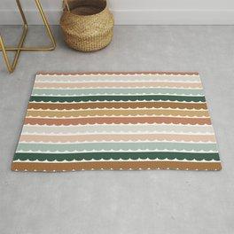 Ombré Scallop Stripes   Retro Lines   Earthy Vintage Stripes Rug