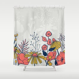 Coral Blooms Border Shower Curtain
