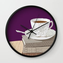 Teacup and Jane Austen Books Wall Clock