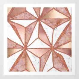 Rose Gold Marble Geometric Abstract Art Print