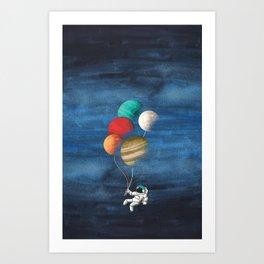 Astronaut Balloons Art Print