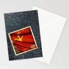 Sticker of Soviet Union (1922-1991) flag Stationery Cards