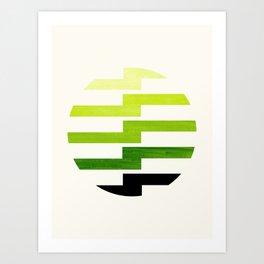 Minimalist Mid Century Circle Frame Sap Green Zig Zag Colorful Lightning Bolt Geometric Pattern Art Print