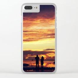 Couple enjoying sunset Clear iPhone Case