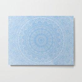 The Most Detailed Intricate Mandala (Blue Cobalt Denim) Maze Zentangle Hand Drawn Popular Trending Metal Print